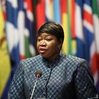 פאטו בנסודה, התובעת הראשית של בית הדין הפלילי הבינלאומי, פונה לפני הוועידה של המדינות החברות בבית הדין הפלילי הבינלאומי, האג. דצמבר, 2019 (צילום: Courtesy International Criminal Court)
