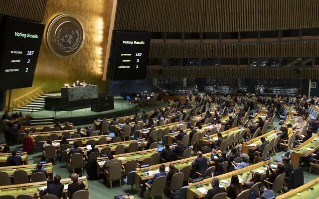 """העצרת הכללית של האו""""ם בהצבעה על אמברגו אמריקאי על קובה ב-7 בנובמבר, 2019 (צילום: Evan Schneider/UN)"""