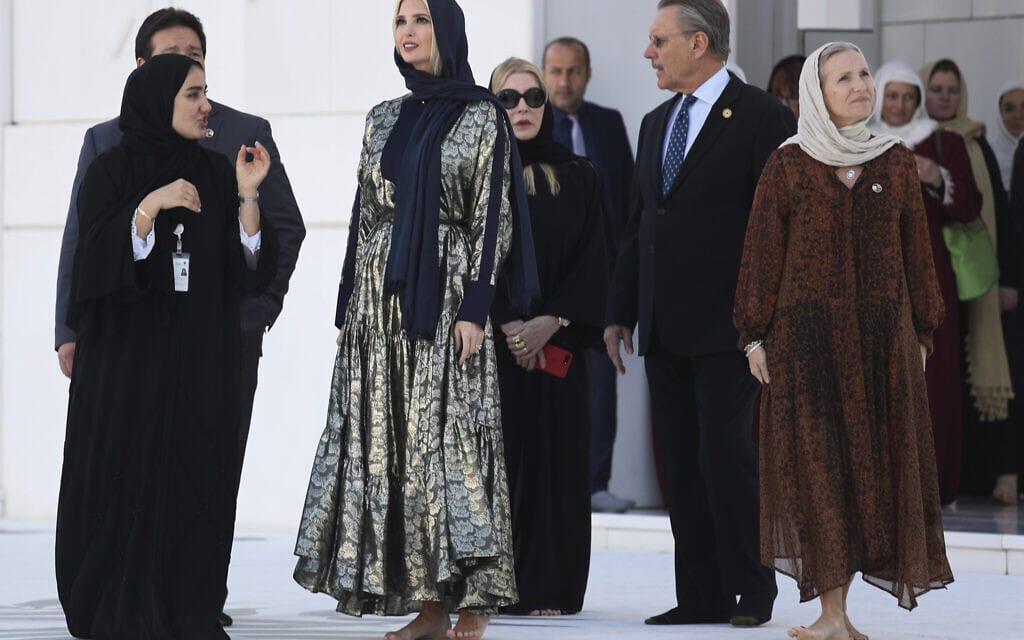 """איוונקה טראמפ, בתו של נשיא ארה""""ב, מבקרת באיחוד האמירויות, פברואר 2020 (צילום: AP Photo/Kamran Jebreili)"""