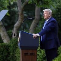 טראמפ נושא דברים בגן הוורדים שבבית הלבן, 1 ביוני 2020 (צילום: Patrick Semansky, AP)
