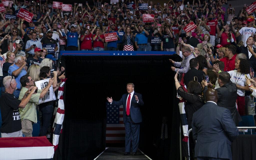 דונלד טראמפ מגיע לטולסה, 20 ביוני 2020 (צילום: AP Photo/Evan Vucci)
