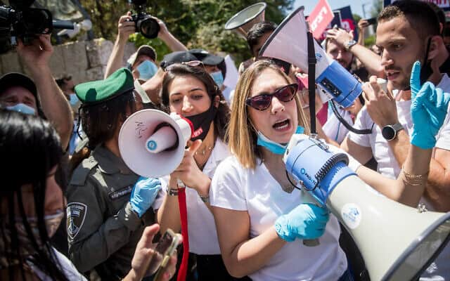 הפגנת סטודנטים בדרישה לסיוע פיננסי, מאי 2020 (צילום: Yonatan Sindel/Flash90)
