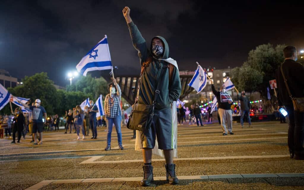 הפגנת השמאל בכיכר רבין ב-9 במאי 2020 (צילום: מרים אלסטר/פלאש90)