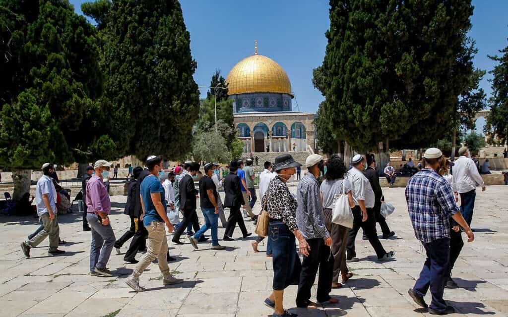 מבקרים יהודים בהר הבית, 31 במאי 2020 (צילום: Sliman Khader/Flash90)