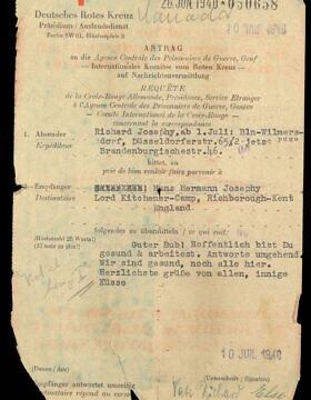 המכתב שנשלח אל הרולד ג'קסון באמצעות הצלב האדום, יולי 1940 (צילום: אוסף ספריית וינר בלונדון)