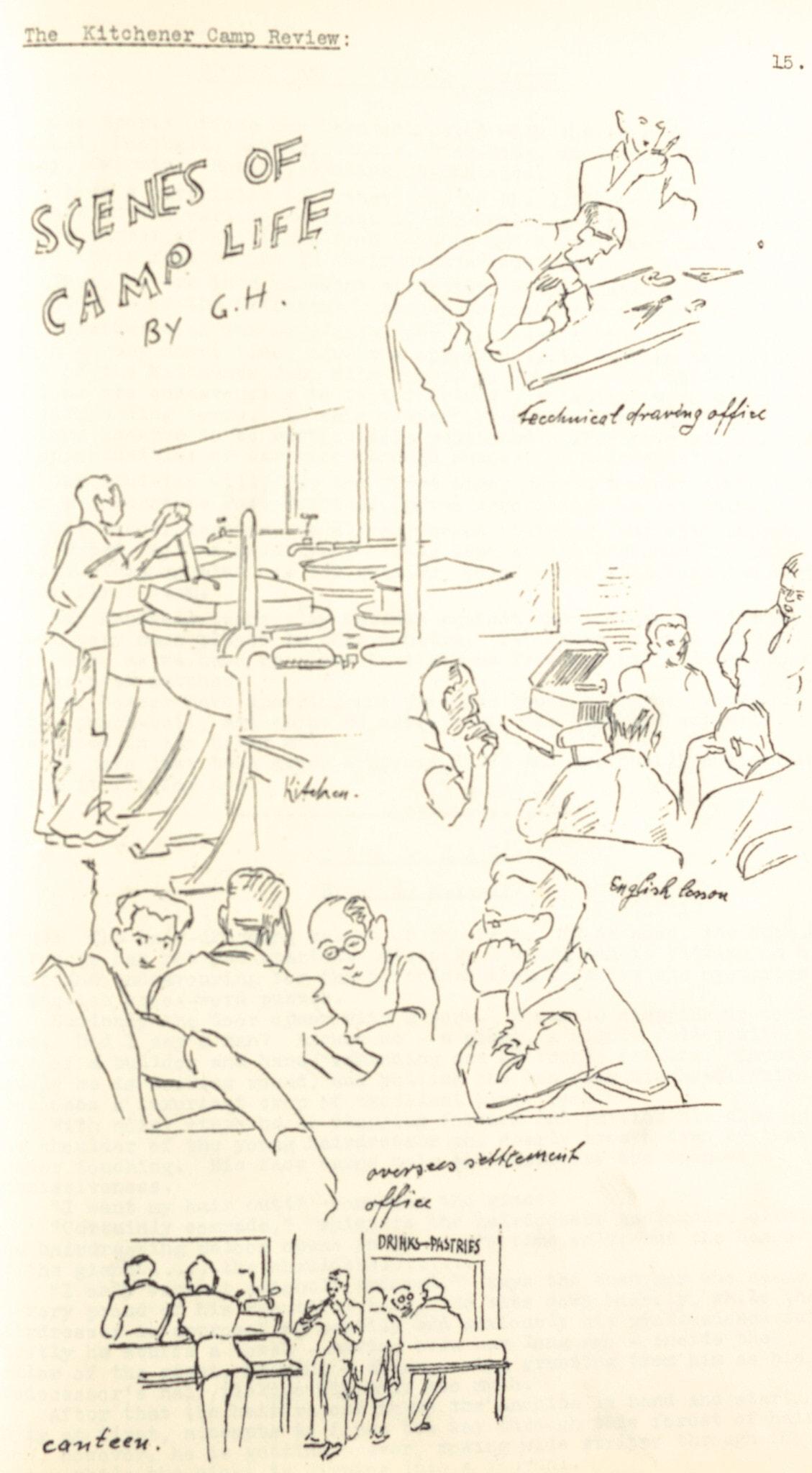 """הירחון """"Kitchener Camp Review"""" פורסם ממרץ עד נובמבר 1939 ונערך על ידי פיניאס מיי. העיתון כלל מאמרים ורישומים פרי עטם של צוות המחנה ודייריו (צילום: אוסף ספריית וינר בלונדון)"""