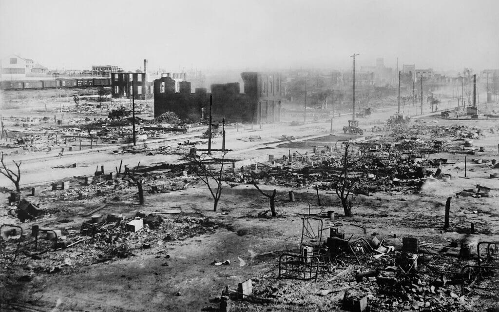 ההריסות בעקבות הטבח בטלסה ב-1921 (צילום: רשות הציבור)