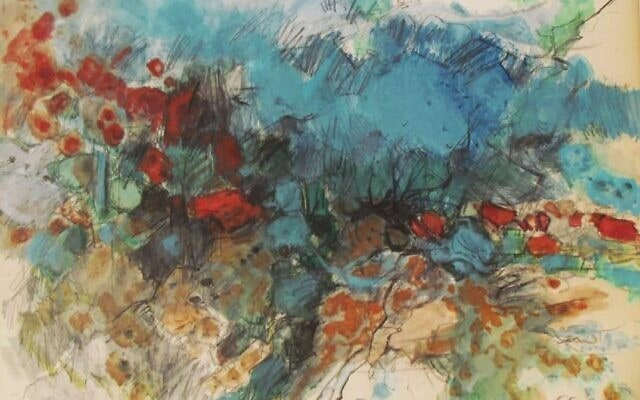 הגלבוע וקיבוץ בית אלפא למרגלותיו (ציור: איציק לבלנג)