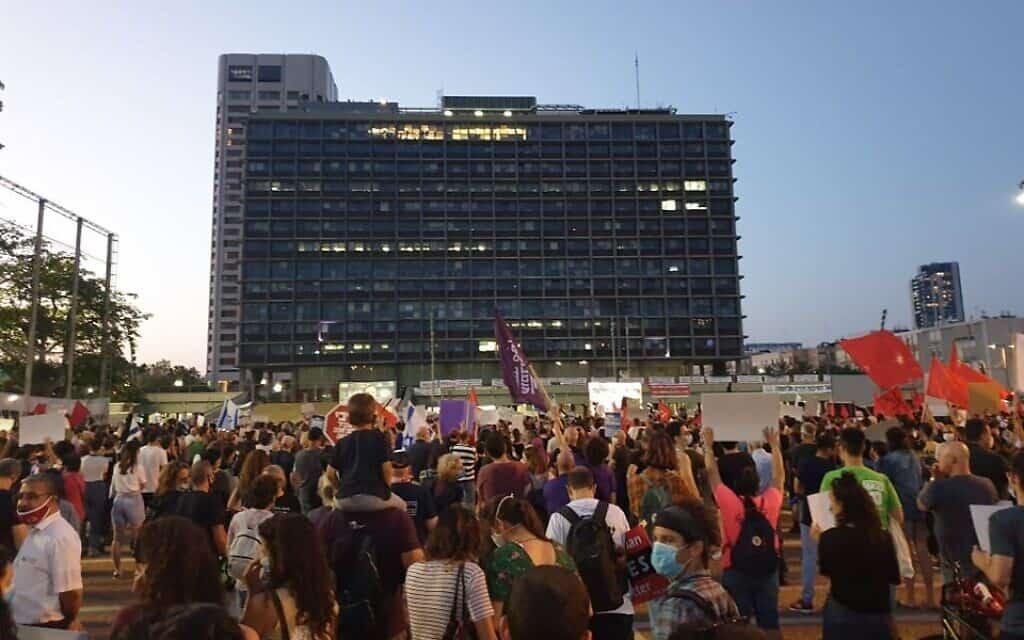 הפגנה נגד הסיפוח בכיכר רבין, 6.6.2020 (צילום: עומר כהן)