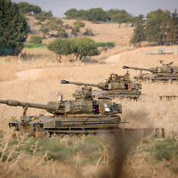 """טנקים של צה""""ל פרוסים בגבול לבנון, 27 ביולי 2020 (צילום: דייוויד כהן / פלאש 90)"""