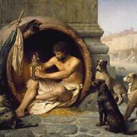 """הפילוסוף היווני דיוגנס שחי בחבית כדי לממש את הגותו הצינית המסתגפת, מדליק עששית כדי לחפש """"אדם ישר"""". דיוגנס השפיע על הגותם של פילוסופים אנרכיסטים רבים. ציור: ז'אן-לאון ז'רום, מ-Walters Art Museum"""