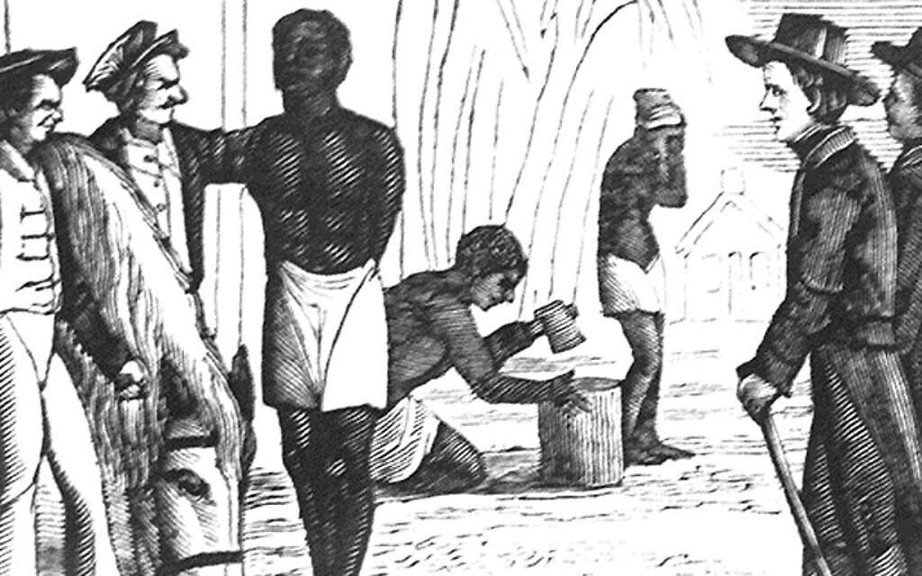 """איור מהמאה ה-19 המתאר את הגעתה של ספינת העבדים """"דיזייר"""" לבוסטון (צילום: רשות הציבור)"""