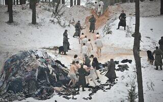 אילוסטרציה: טבח יער רומבולה הידוע לשמצה, בו מתו כ- 25,000 יהודים במהלך יומיים בסוף 1941, מתוך הסרט ההיסטורי החדש על השואה The Mover (צילום: באדיבות פסטיבל הסרטים היהודי בוושינגטון)