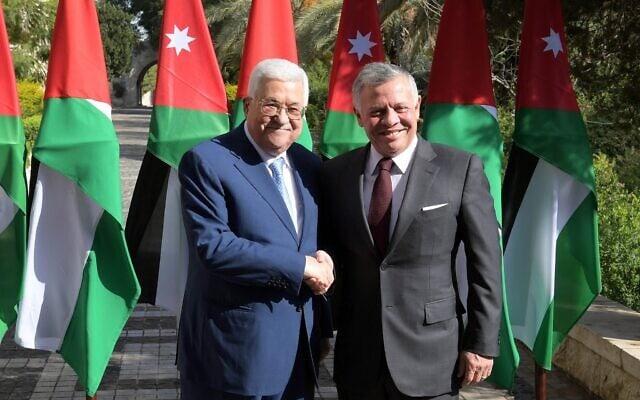 עבדאללה מלך ירדן ויושב ראש הרשות הפלסטינית מחמוד עבאס בפגישה בעמאן ב-18 בדצמבר 2018 (צילום: סוכנות הידיעות הפלסטינית)