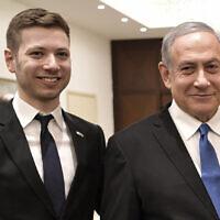 בנימין נתניהו ובנו יאיר (צילום: Aleksey Nikolskyi/Sputnik Kremlin Pool Photo via AP)
