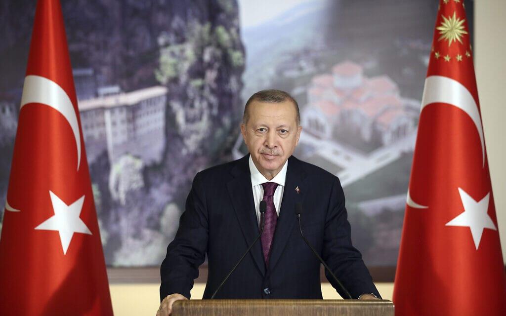 נשיא טורקיה ארדואן, יולי 2020 (צילום: Turkish Presidency via AP, Pool)