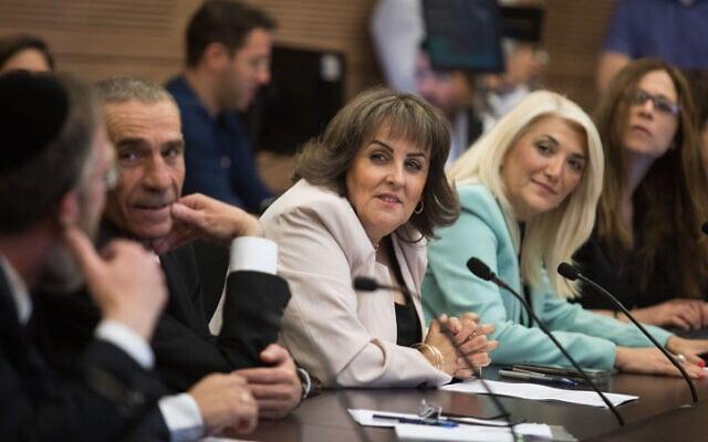חברי הכנסת אוסנת מארק, קטי שטרית ופטין מולא בכנסת, 20 במאי 2019 (צילום: הדס פרוש, פלאש 90)