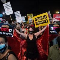 מחאת העצמאים בכיכר רבין, 11 ביולי 2020 (צילום: מרים אלסטר/פלאש90)