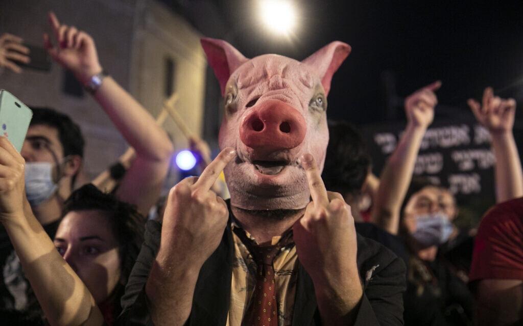 מפגינים בבלפור 18.7.2020 (צילום: Olivier Fitoussi/Flash90)