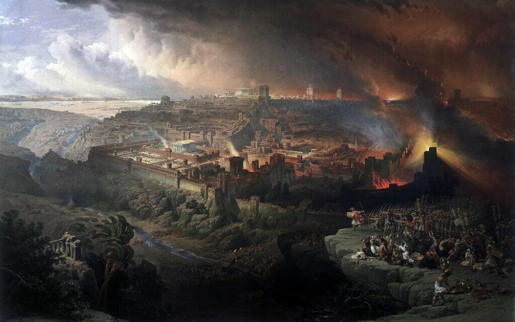 צבא טיטוס מתכונן לכיבוש העיר ירושלים בתקופת בית שני, ציור: דייוויד רוברטס, 1850