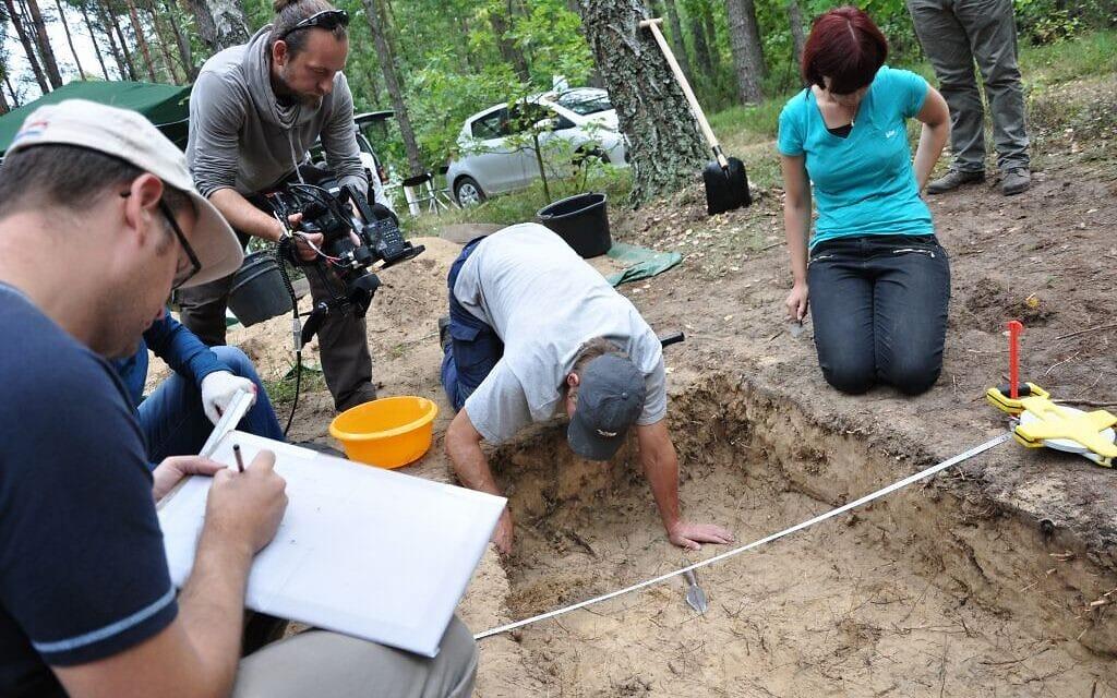 הארכאולוגית קרולין סטרדי קולס מפקחת על חפירות באזור קברי האחים בטרבלינקה, מחנה המוות הנאצי במזרח פולין (צילום: Courtesy)