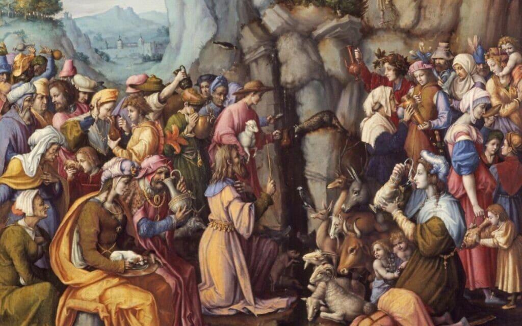 משה מכה בסלע, ציור: פרנצ'סקו אוברטיני