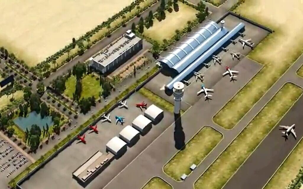 הדמיה לשדה תעופה בנבטים, צילום מסך