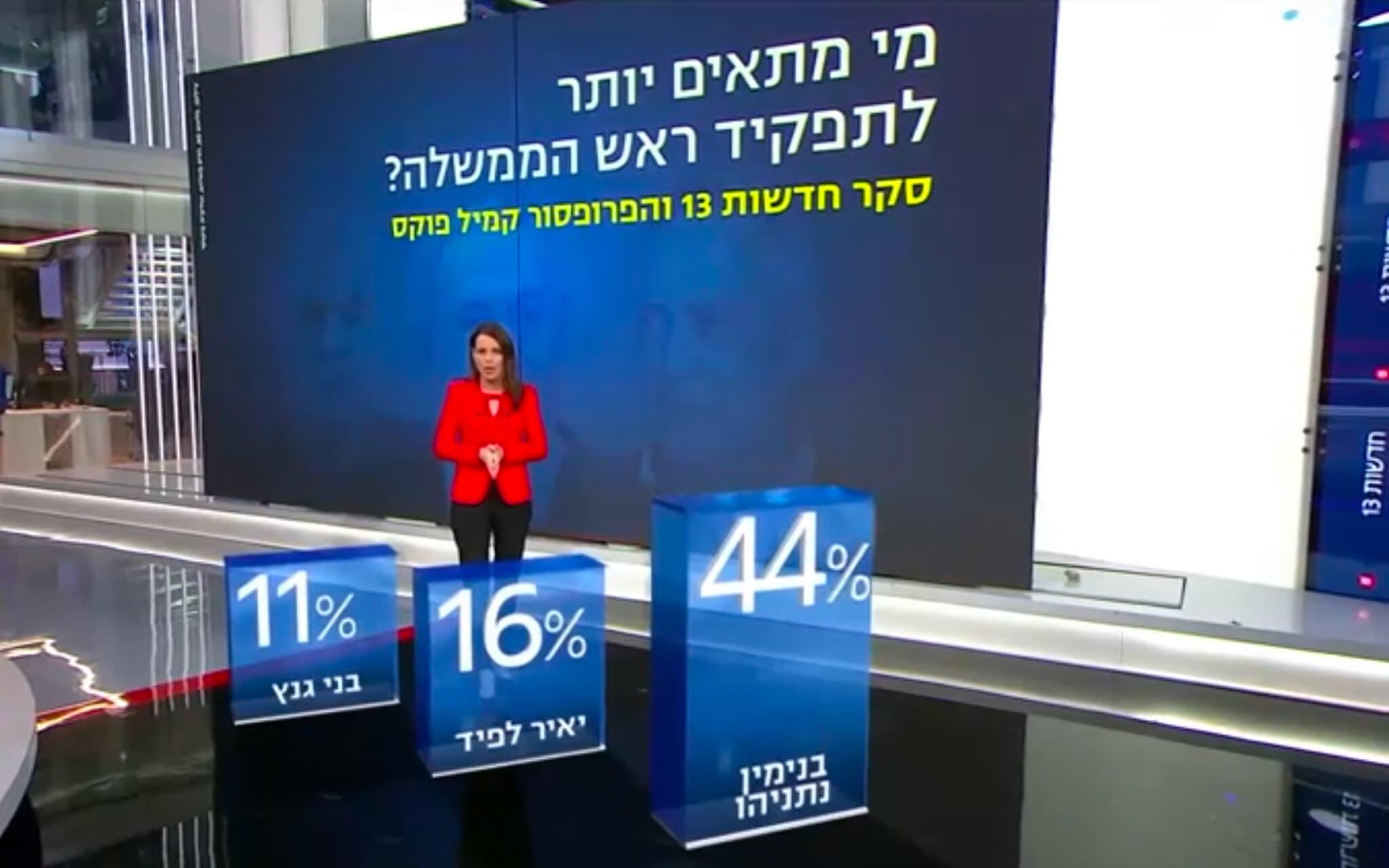 סקר קמיל פוקס עבור חדשות 13 ב-23 ביולי 2020 (צילום: צילום מסך, חדשות 13)