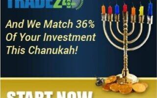מודעת פרסומת ברוח חנוכה לאתר Trade-24.com, שהופיעה ב-Jewish Press ב-20 בנובמבר 2014 (צילום: צילום מסך)