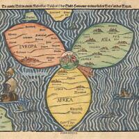 מפת בינטינג: ירושלים במרכז, היבשות מקיפות אותה