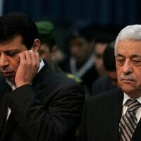 מחמוד עבאס ומוחמד דחלאן, ארכיון,2007 (צילום: AP Photo/Muhammed Muheisen)