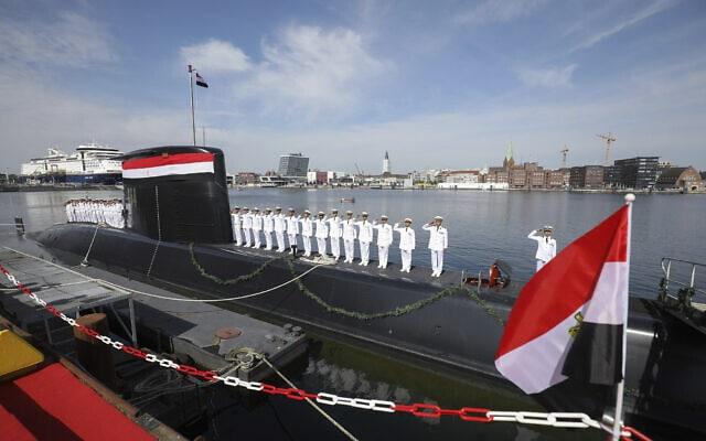 טקס מסירת צוללת מתוצרת טיסנקרופ לחיל הים המצרי. 8 באוגוסט, 2017 (צילום: Christian Charisius/dpa via AP)