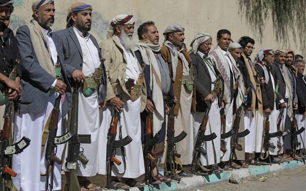 מורדים חותים חמושים בתימן, פברואר 2020 (צילום: AP Photo/Hani Mohammed)