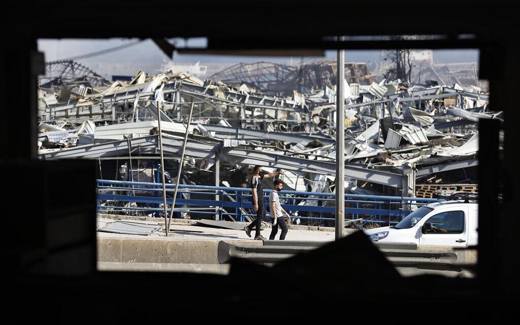ההרס בעקבות הפיצוץ בנמל ביירות בלבנון, אוגוסט 2020 (צילום: AP Photo/Hussein Malla)