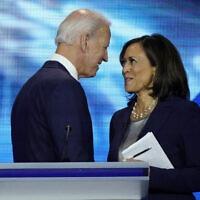קמלה האריס וג'ו ביידן בדיבייט של המפלגה הדמוקרטית ביוסטון, טקסס. 12 בספטמבר 2019 (צילום: AP Photo/David J. Phillip)