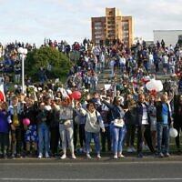 הפגנות בבלארוס נגד הנשיא אלכסנדר לוקשנקו, ב-13 באוגוסט 2020 (צילום: AP Photo/Sergei Grits)