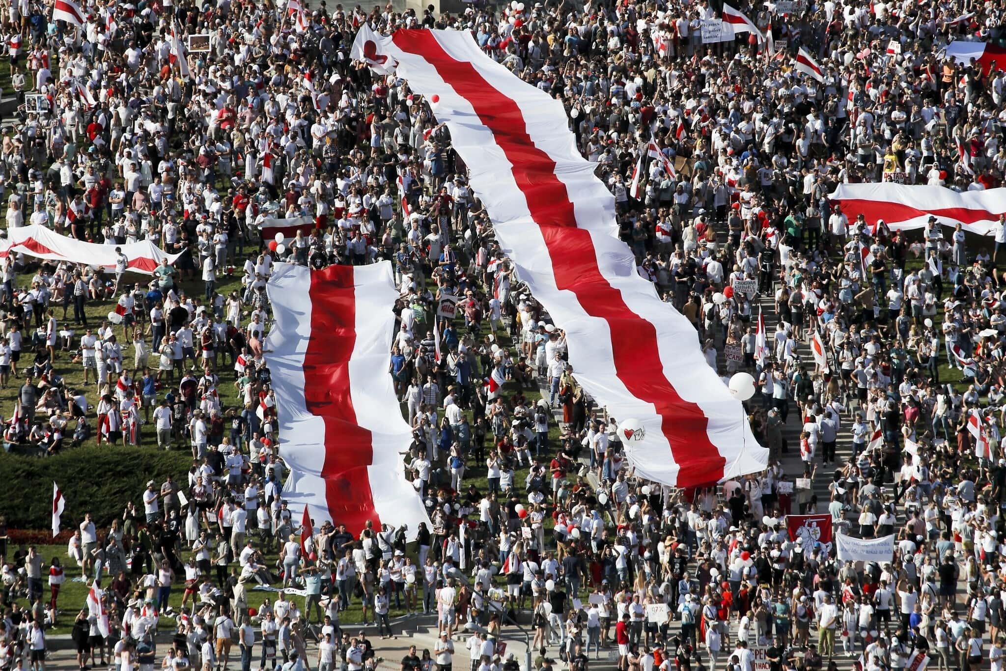 הפגנות האופוזיציה בבלרוס (צילום: AP Photo/Dmitri Lovetsky)