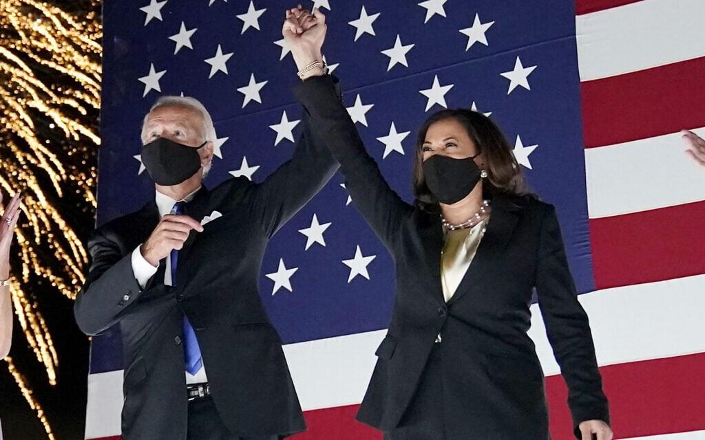 ג'ו ביידן וקמלה האריס, המועמדים הרשמיים של המפלגה הדמוקרטית בבחירות לנשיאות 2020 (צילום: AP Photo/Andrew Harnik)