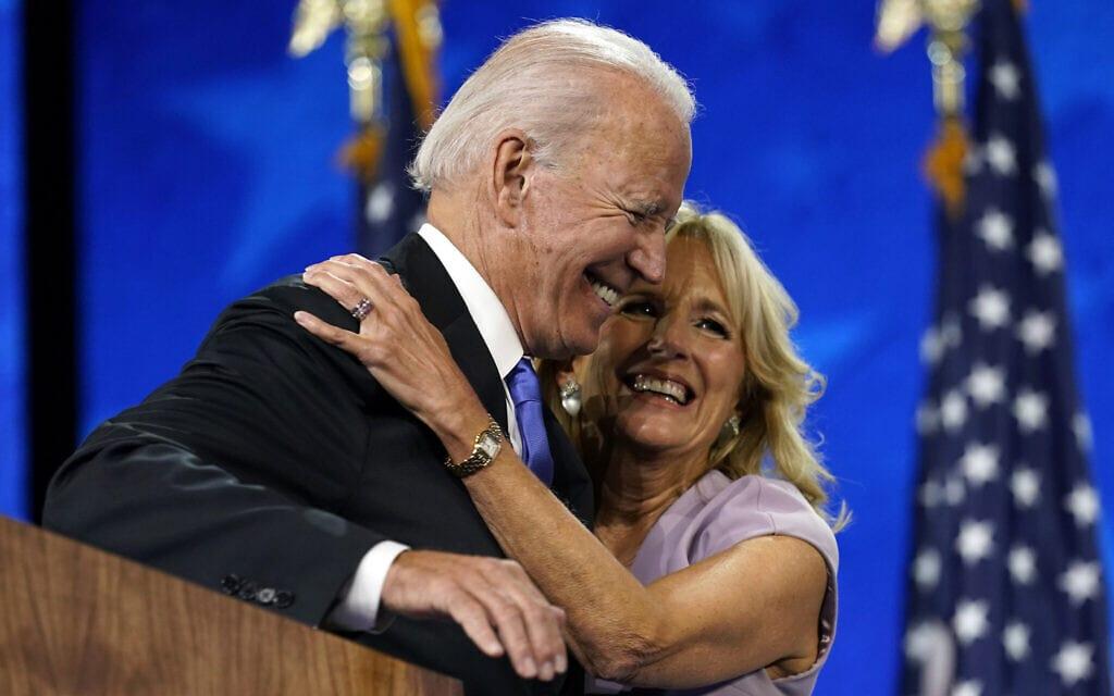 ג'יל וג'ו ביידן בוועידת המפלגה הדמוקרטית, ב-20 באוגוסט 2020 (צילום: AP Photo/Andrew Harnik)