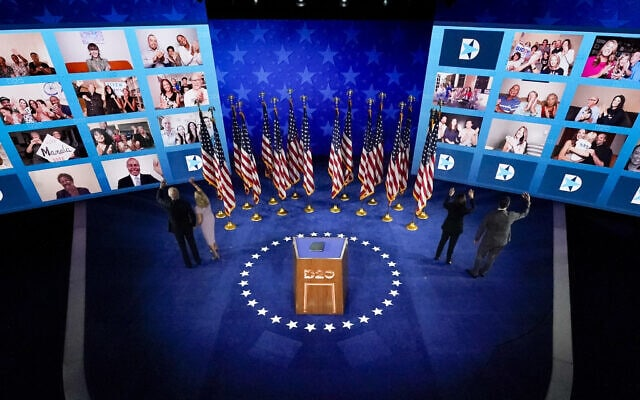 הועידה הדמוקרטית 2020 בעידן הקורונה (צילום: AP Photo/Andrew Harnik)