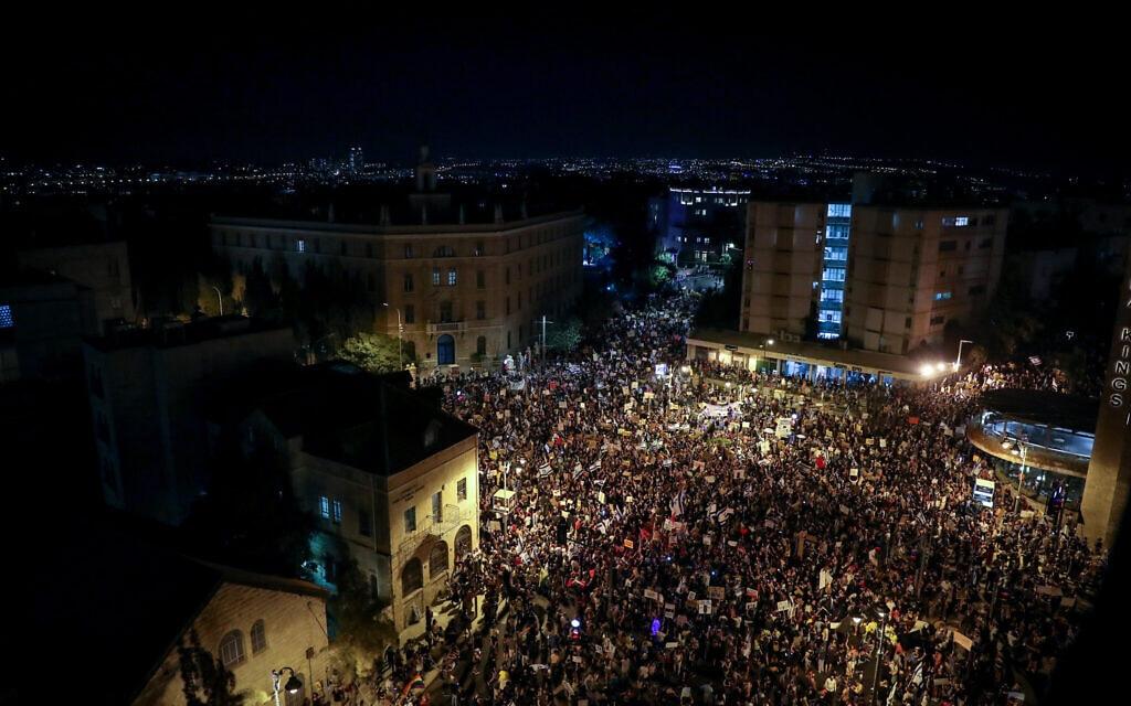 המחאה בירושלים מול מעון ראש הממשלה, 1 באוגוסט 2020 (צילום: יונתן זינדל/פלאש90)