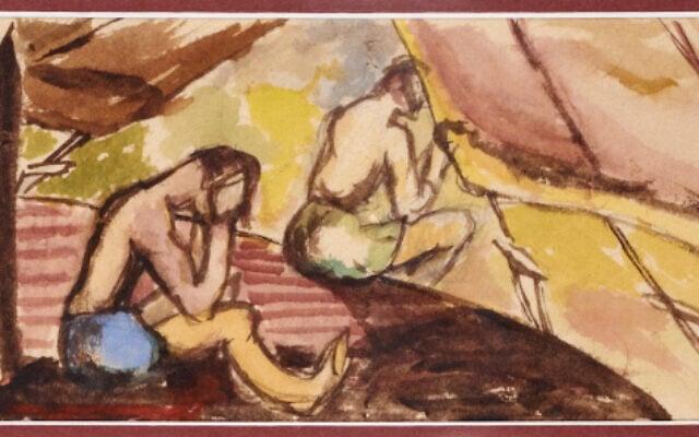 סצנה מחיי המחנה שצייר וולפגנג גרסון בצבעי מים על נייר טואלט, ממחנה N בשרברוק, קוויבק, סביבות 1942-1940. גרסון נתן הרצאות לעמיתיו האסירים במחנות בקוויבק ובאונטריו וצייר על כל מה שהיה בידו בשל המחסור בנייר (צילום: ג'סיקה בושי/ באדיבות משפחת גרסון)