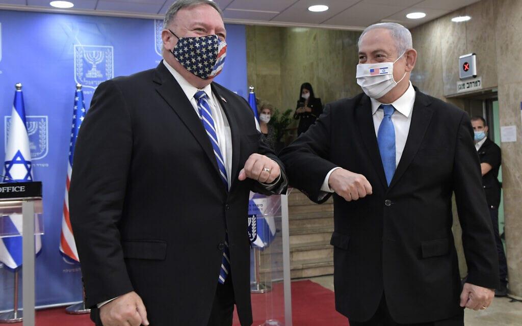 """מייק פומפיאו, מזכיר המדינה האמריקאי, הגיע לישראל לפגישה עם ראש הממשלה בנימין נצניהו. אוגוסט 2020 (צילום: קובי גדעון / לע""""מ)"""