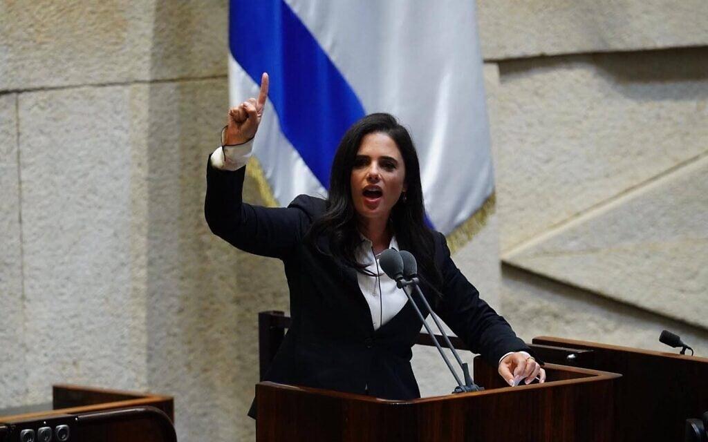 איילת שקד בעת ההצבעה על פסקת ההתגברות ב-5 באוגוסט 2020 (צילום: עדינה ולמן, דוברות הכנסת)