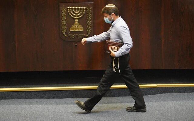 בצלאל סמוטריץ׳ לאחר נאומו על תיקון חוק השבות, ב-26 באוגוסט 2020 (צילום: יהונתן סמייה/דוברות הכנסת)
