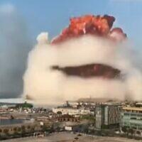 הפיצוץ בביירות, צילום מסך מסקיי ניוז