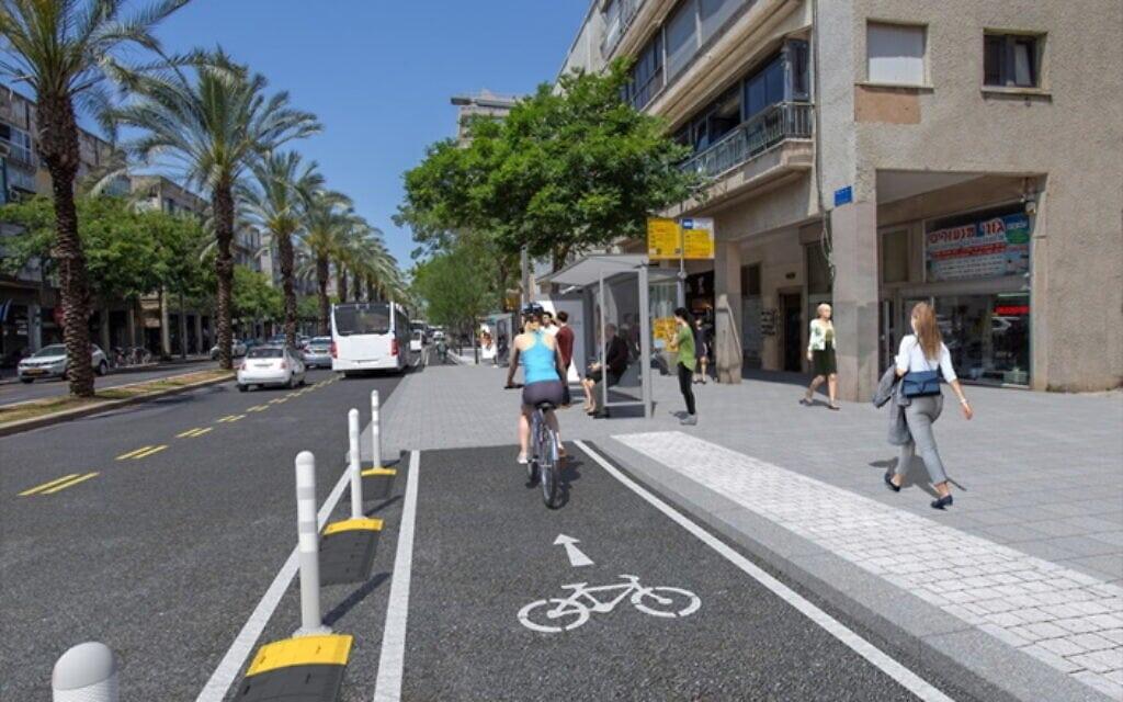 הדמיית שביל האופניים החדש המתוכנן ברחוב אבן גבירול בתל אביב