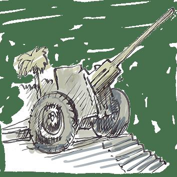 """כיכר התותח בנהריה. איור: אבי כ""""ץ"""