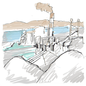 """מפעלי ים המלח. איור: אבי כ""""ץ"""