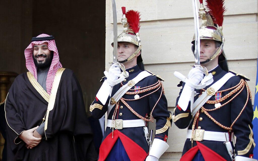 מוחמד בן סלמאן מבקר בצרפת, ארכיון, 2018 (צילום: AP Photo/Francois Mori)